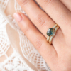 Claw-Cups-Solitaire-Ring-Green-Blue-Rose-Cut-Sapphire-9ct-Gold-Pave-Diamond