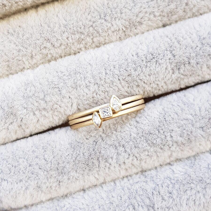 9ct Yellow Gold Diamond Stacking Rings - Set of 3 Shaped Diamonds