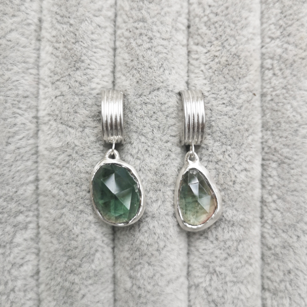 Asymmetrical Lined Hoops with green tourmaline-Anny Ching Chin Jewellery-Clifton Rocks Bristol