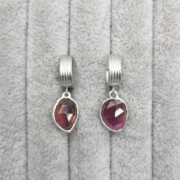 Asymmetrical Lined Hoops with pink tourmaline-Anny Ching Chin Jewellery-Clifton Rocks Bristol