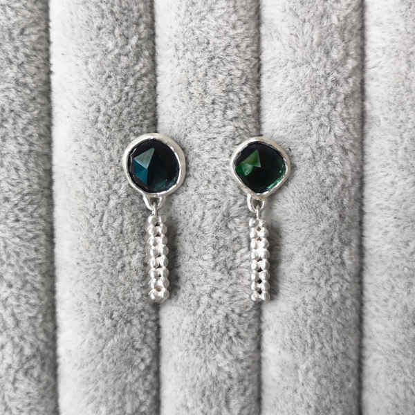 Asymmetrical Long Grain Studs with green tourmaline-Anny Ching Chin Jewellery - Clifton Rocks Bristol