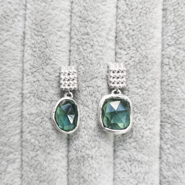 Asymmetrical Square Grain Studs with green tourmaline-Anny Ching Chin Jewellery - Clifton Rocks Bristol