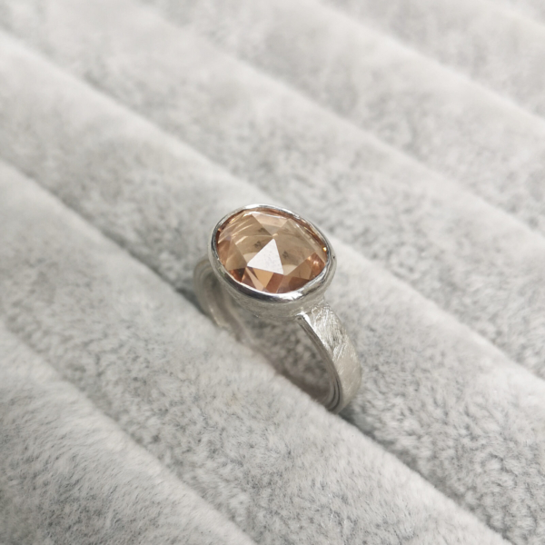 Silver Layered Ring with baby pink tourmaline-Anny Ching Chin Hsieh-Clifton Rocks Bristol