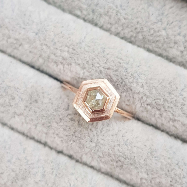 hexagon-diamond-rose-gold-halo-engagement-ring-diamond-Ching-Chin-Jewellery-Clifton-Rocks-Jewellery-Bristol