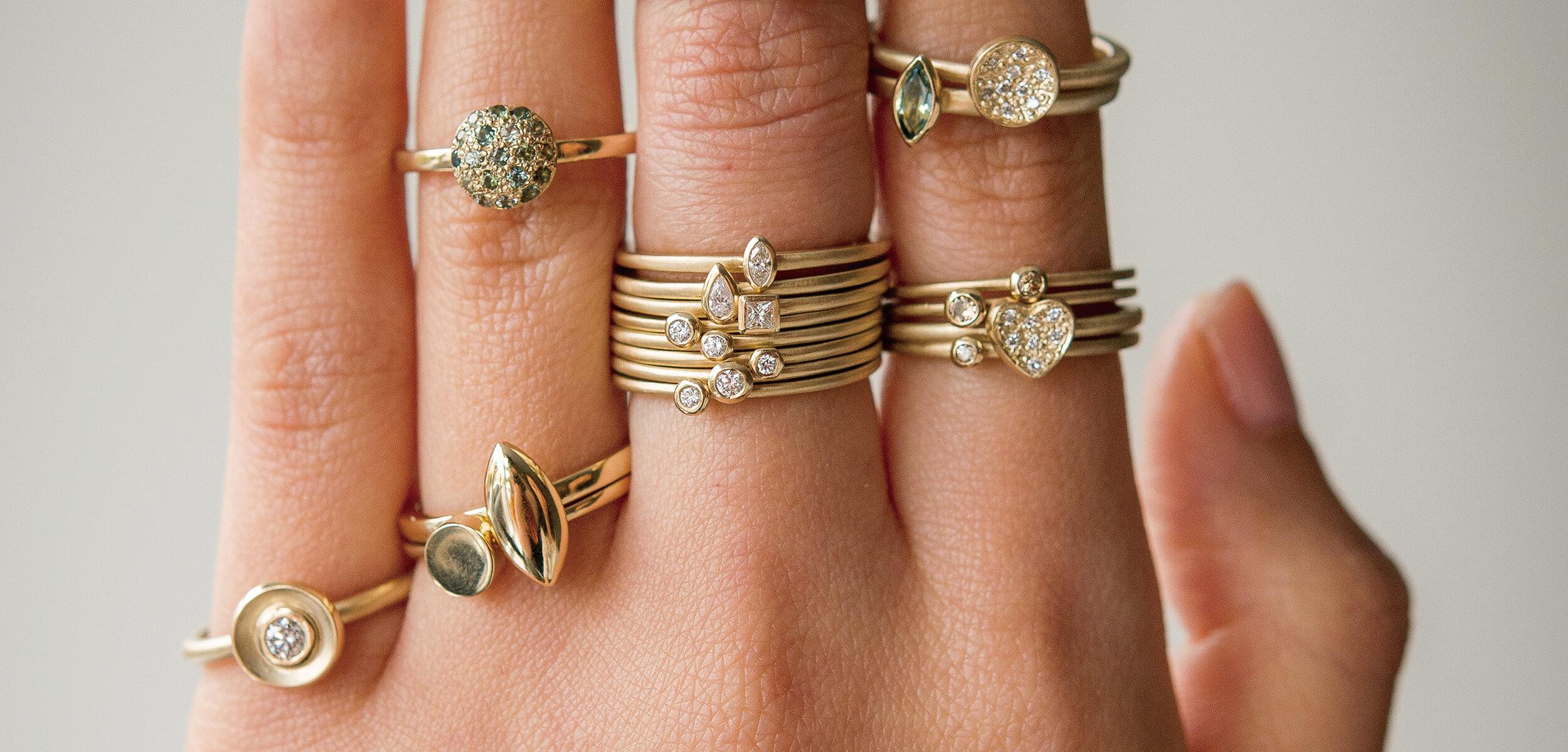 Clifton Rocks Diamond Sapphire Stacking Ring Bristol Handmade Independent Jewellery Shop