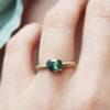 Green-sapphire-cushion-trillion-diamond-yellow-gold-engagement-ring-clifton-rocks-bristol-1